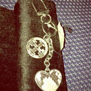 Tory Burch silver heart & faux snakeskin keychain